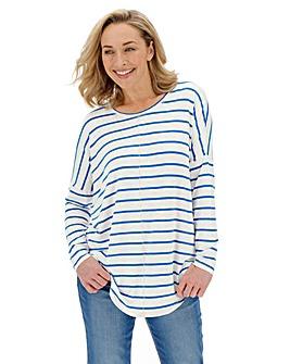 White/ Blue Oversized Stripe Tunic