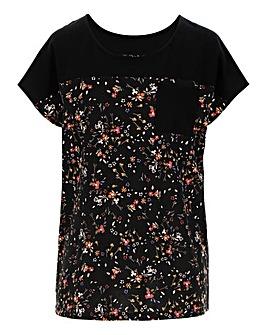 Ditsy Floral Curved Hem T-Shirt
