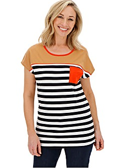 Striped Curved Hem T-Shirt