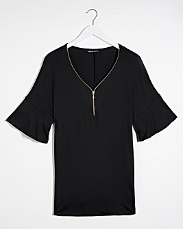 Black Zip Front Tunic