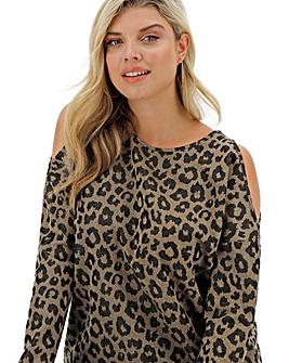 Animal Print Knit Look Cold Shoulder Longline Jumper