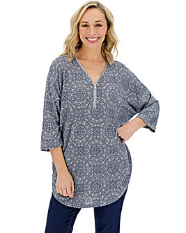 Grey Print Zip Front Knit Look Jumper