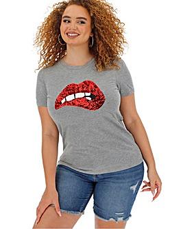 Sequin Lips Embellished T Shirt