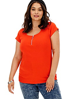 Red Short Sleeve Zip Front Top