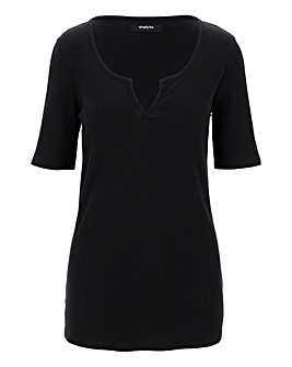 Black Value Notch Rib Half Sleeve Top