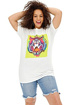 Lion Graphic Print Slogan T-Shirt