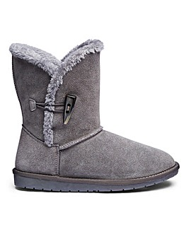 Suede Warm Lined Ankle Boots E Fit