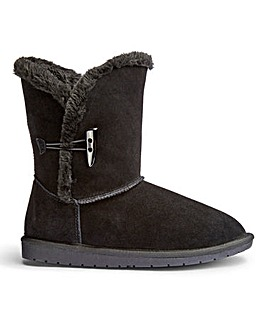 Suede Toggle Ankle Boots Extra Wide EEE Fit