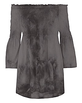 Black Tie Dye Shirred Bardot Tunic