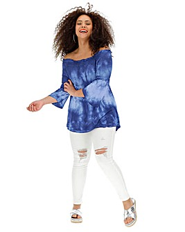 Navy Tie Dye Shirred Bardot Tunic