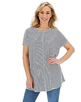 White/ Navy Oversized Stripe Top