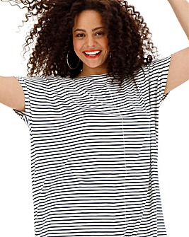 White/ Navy Oversized Stripe Top