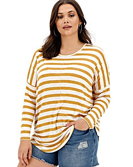 Ochre/ White Oversized Stripe Tunic