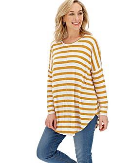 Ochre/ White Oversized Stripe Tunic