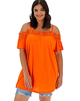 Crochet Trim Cold Shoulder Tunic