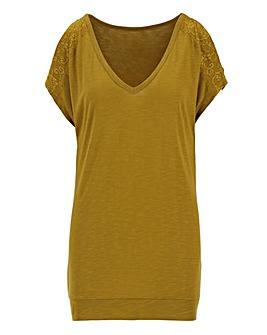 Lace Shoulder Split Sleeve Top