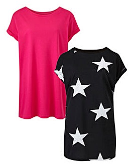 Pink/Star Pack of 2 Boyfriend Tshirts