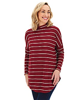 Oversized Stripe High Neck Tunic