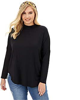 Black Oversized High Neck Tunic