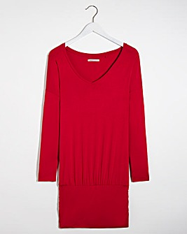 V Neck Ruched Hem Tunic