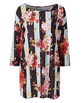Floral Print Cold Shoulder Tunic