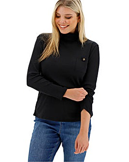 Black Boxy Rib Utility Pocket Top