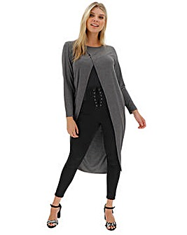 Charcoal Marl Maxi Wrap Front Tunic