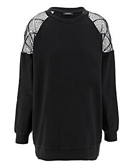 Mesh Sleeve Sweatshirt Tunic