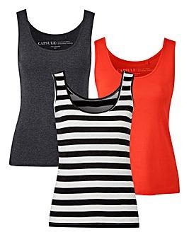 Charcoal/ Stripe/ Orange Pack Of 3 Vests