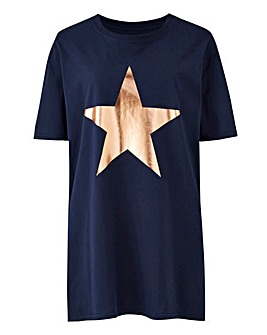 Foil Star Print Navy T-Shirt