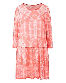Pink Tie Dye Mesh Overlay Peplum Top