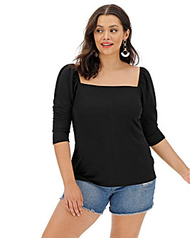 Black Short Sleeve Square Neck Top