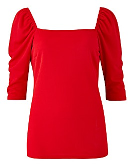 Red Short Sleeve Square Neck Top