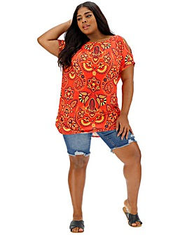 Short Sleeve Red Paisley Tunic