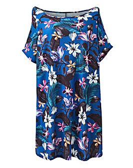 Short Sleeve Blue Floral Printed Tunic