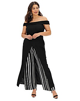 Black Maxi Wrap Bardot Tunic Top