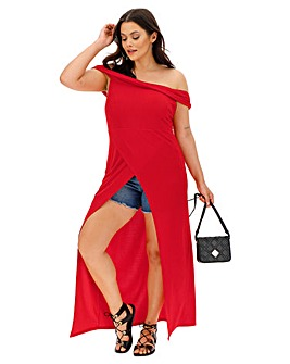 Red Maxi Wrap Bardot Tunic Top