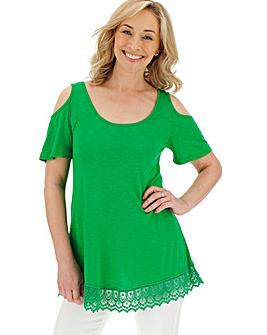 Green Lace Hem Cold Shoulder Top