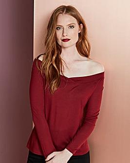 Wine Long Sleeve Bardot Top