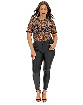 Animal Print Short Sleeve Mesh T-Shirt