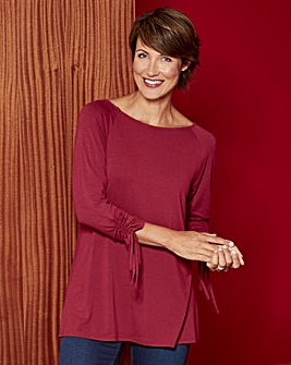 Raspberry Ruched Sleeve Top