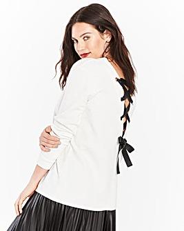 Ivory Lace Up Back Sweatshirt