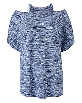 Blue Space Dye Cut Out Neck T-shirt