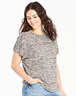 Grey Space Dye Cut Out Neck T-shirt