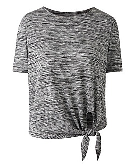 Grey Space Dye Tie Front T-shirt