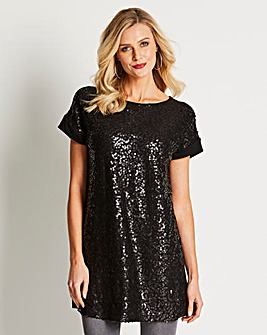 Longer Length Sequin Front Jersey Tunic