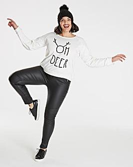 Oh Deer Flock Print Christmas Sweatshirt