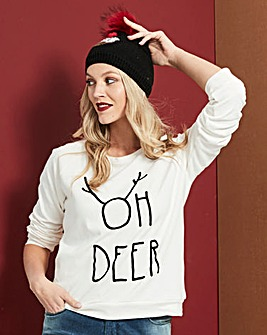 Oh Deer Flock Print Christmas Sweatshirt