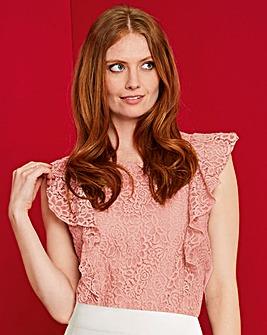 Pink Lace Ruffle Frill Jersey Top