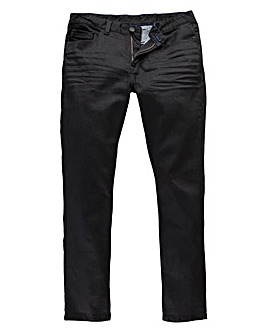 Black Label By Jacamo Lennox Stretch Coated Jeans 33 Inch